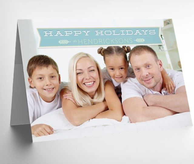 A Mock Up Of A Folded Christmas Photo Card