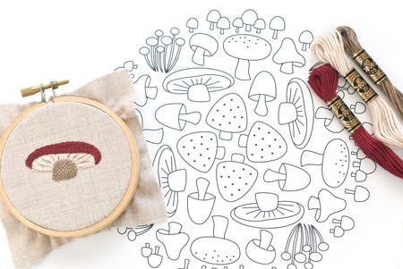 mushroom mosaic free embroidery