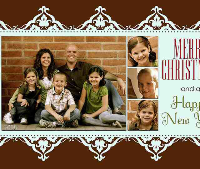 A Blue And Brown Christmas Card Template With Spots For  Photos