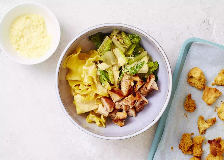 Grilled Chicken Caesar Pasta Salad in a bowl
