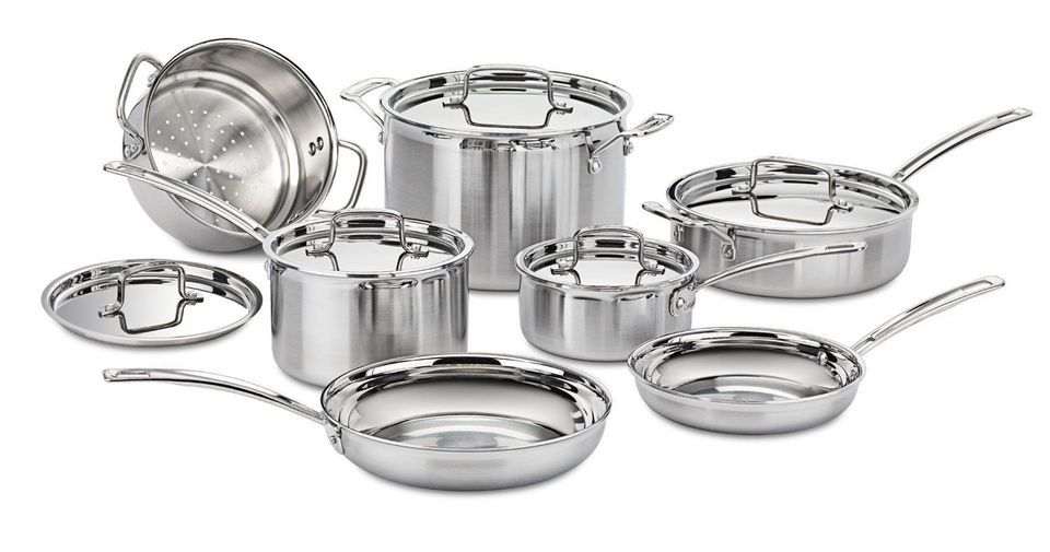 kitchen pots and pans reclaimed wood tables the 8 best cookware sets to buy in 2019 overall cuisinart multiclad pro stainless steel 12 piece set