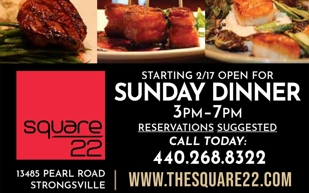 Opening for Sunday Dinner, Starting Feb. 17th