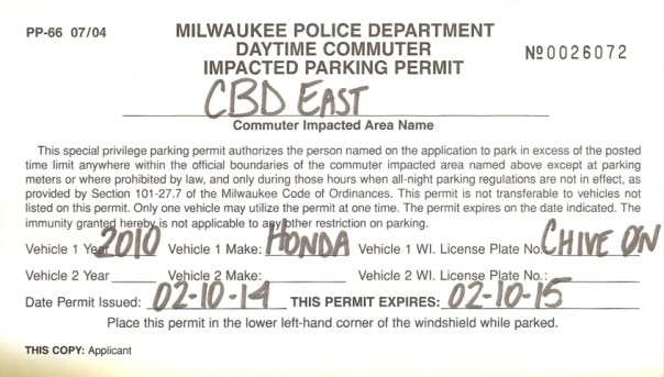 My actual Commuter Impacted Parking Permit. KCCO
