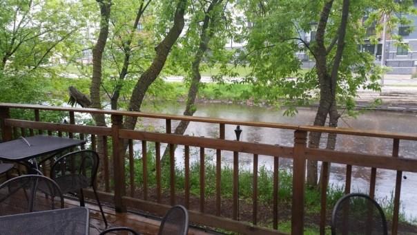 Their patio on the Milwaukee River.