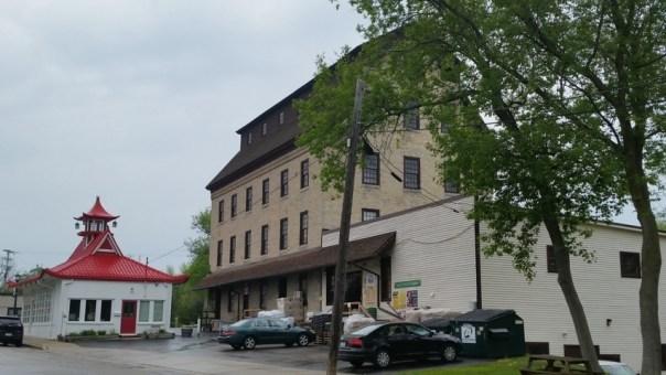 The 4-story grain mill in classic Cream City Brick.