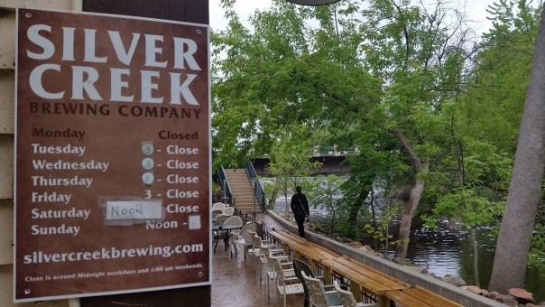 Silver Creek Brewing Company's outdoor patio overlooking Cedar Creek. All photos by Joe Powell.