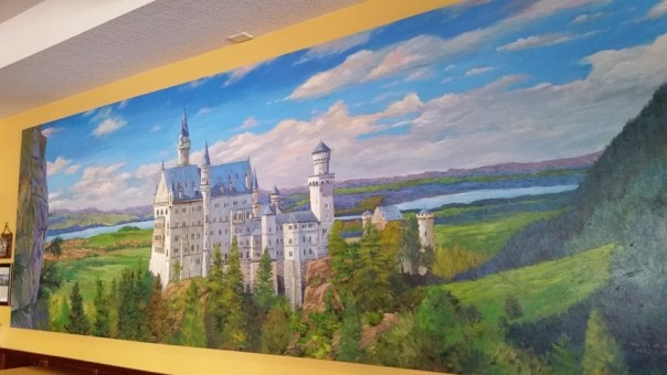 I did not expect the beautiful, 20-foot long Neuschwanstein Castle painting.
