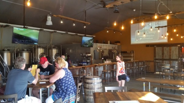 The high ceilings give the small taproom an airy feel.