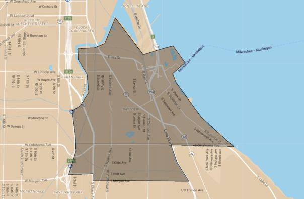 Outline of Bay View, as seen on Google Maps.