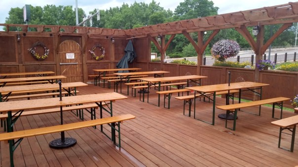 Even on a rainy day it's hard to not want to patronize the plumb river-side bier garden.