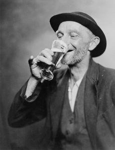 One happy Irishmen enjoying a fine Old Milwaukee.