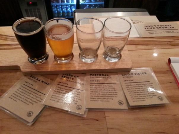 Door County Brewing Company tasting flight