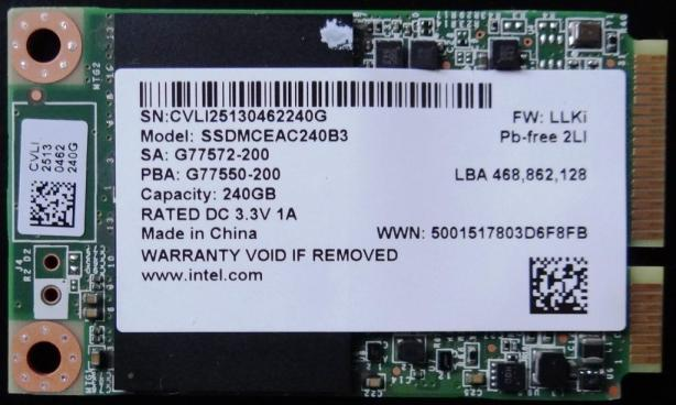 Intel525 240GB SSD Front