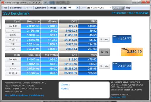 KingFast KF1310MCF mSATA SSD Anvil 0Fill