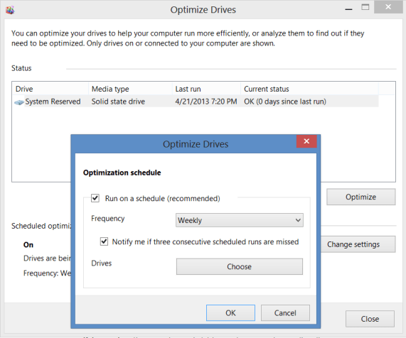 Optimize Drives Screen 2