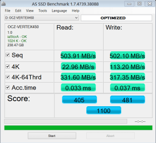 OCZ AS SSD Bench Optimized
