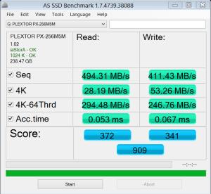 Plextor M5M 256GB mSATA SSD AS SSD Bench