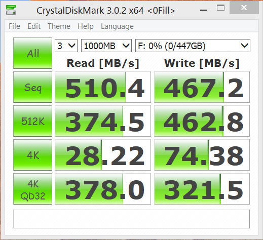 Seagate 480GB 600 Series SSD CrystalDiskMark
