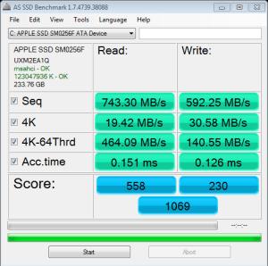 APPLE SSD SM0256 AS SSD Bench