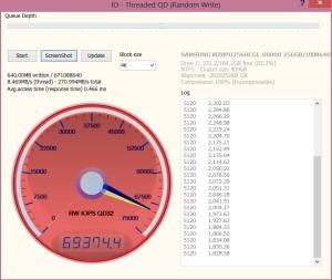 VAIO Pro 13 256GB SSD Anvil Write IOPS 69374