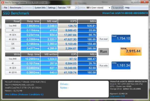 Visiontek 480GB mSATA SSD Anvil Comp