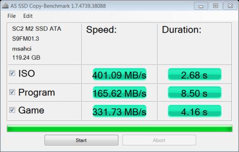 MyDigitalSSD SuperCache 2 M.2 128GB SSD AS SSD Copy Bench
