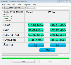 Crucial M550 1TB SSD AS SSD Result