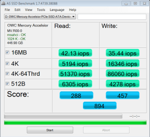OWC Mercury Accelsior_E2 480GB PCIe SSD AS SSD IOPS
