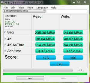 Kingston 16GB SSD AS SSD