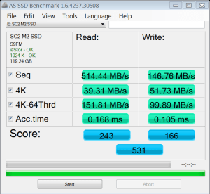 MyDigitalSSD SC2 128GB SSD AS SSD