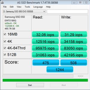 Samsung 850 EVO 500GB AS SSD IOPS