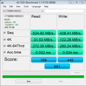 Crucial BX100 500GB AS SSD