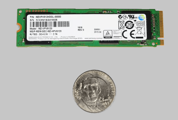 Samsung SM951 NVMe SSD with nickel top bottom
