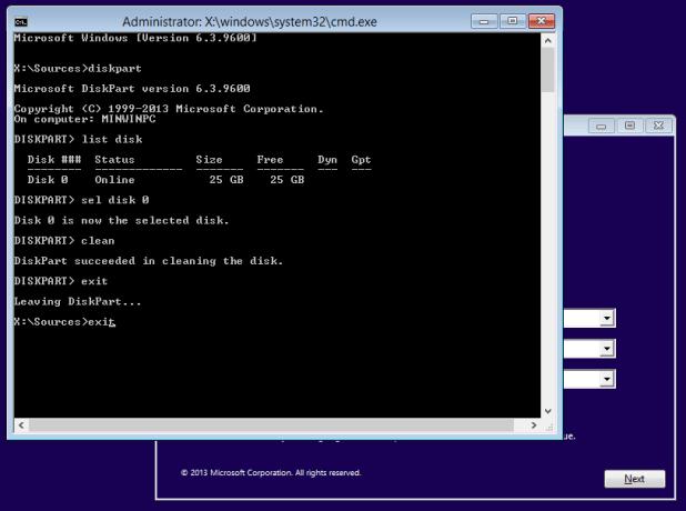 Windows 8 Install Diskpart