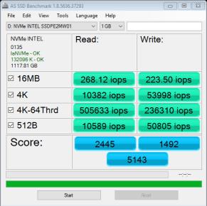 Intel 750 NVMe RAID X3 AS SSD IOPS