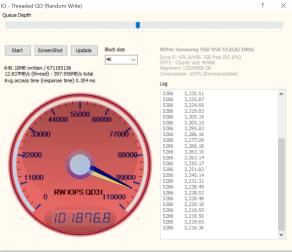 Samsung SSD 950 M2 512GB SSD Anvil 101K Write IOPS