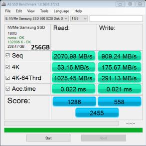 Samsung SSD 950 Pro 256GB M2 AS SSD Bench