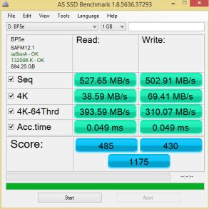 MyDigitalSSD BP5e 960GB AS SSD