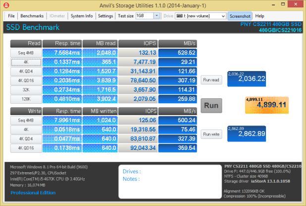 PNY XLR8 CS2211 480GB Anvil