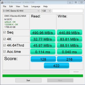 OWC Mercury Electra MAX 6G 2TB SSD AS SSD