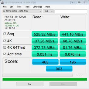 PNY CS1311 SSD 120GB AS SSD