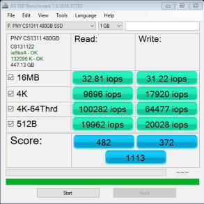 PNY CS1311 SSD 480GB AS SSD IOPS