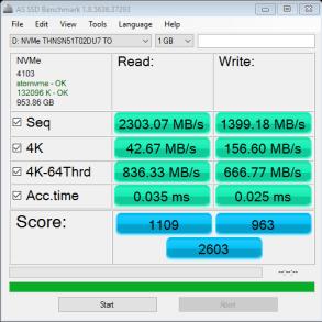 Toshiba XG3 1TB NVMe M.2 SSD AS SSD Bench