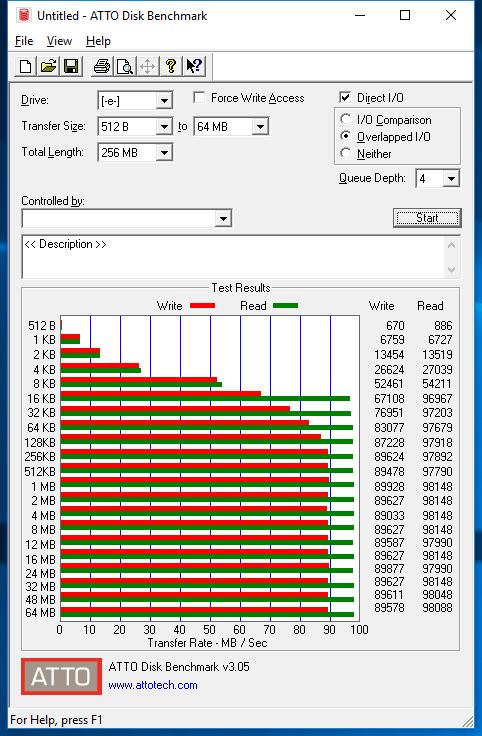 Samsung EVO Plus microSDXC 256GB ATTO