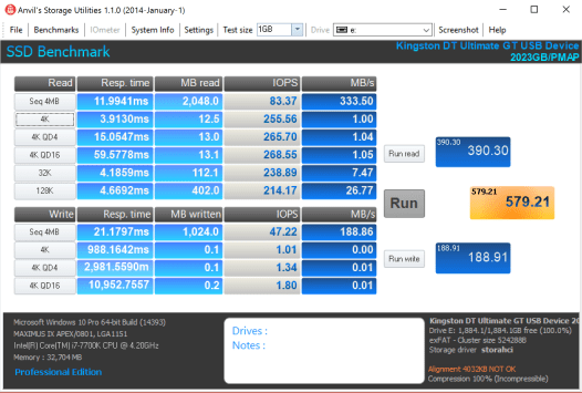 Kingston Ultimate GT 2TB Flash Drive Anvil