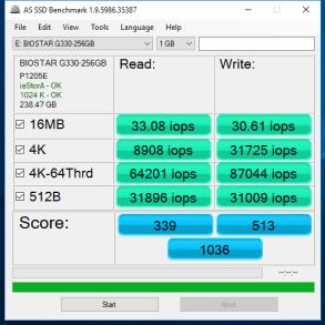 Biostar G330 SSD 256GB AS SSD IOPS