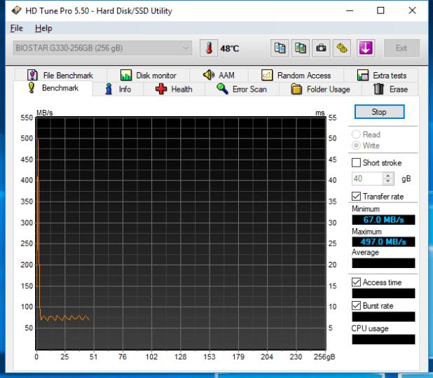 Biostar G330 SSD 256GB HDTune