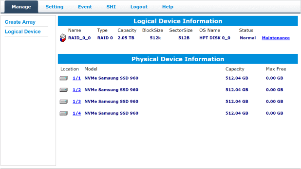 Highpoint NVMe RAID Manager