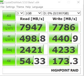 Highpoint SSD7101 OCZ Samsung 960 Pro RAID 0 CDM