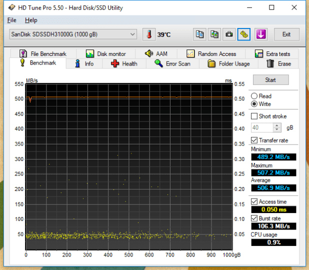 1TB SanDisk Ultra 3D HDTune